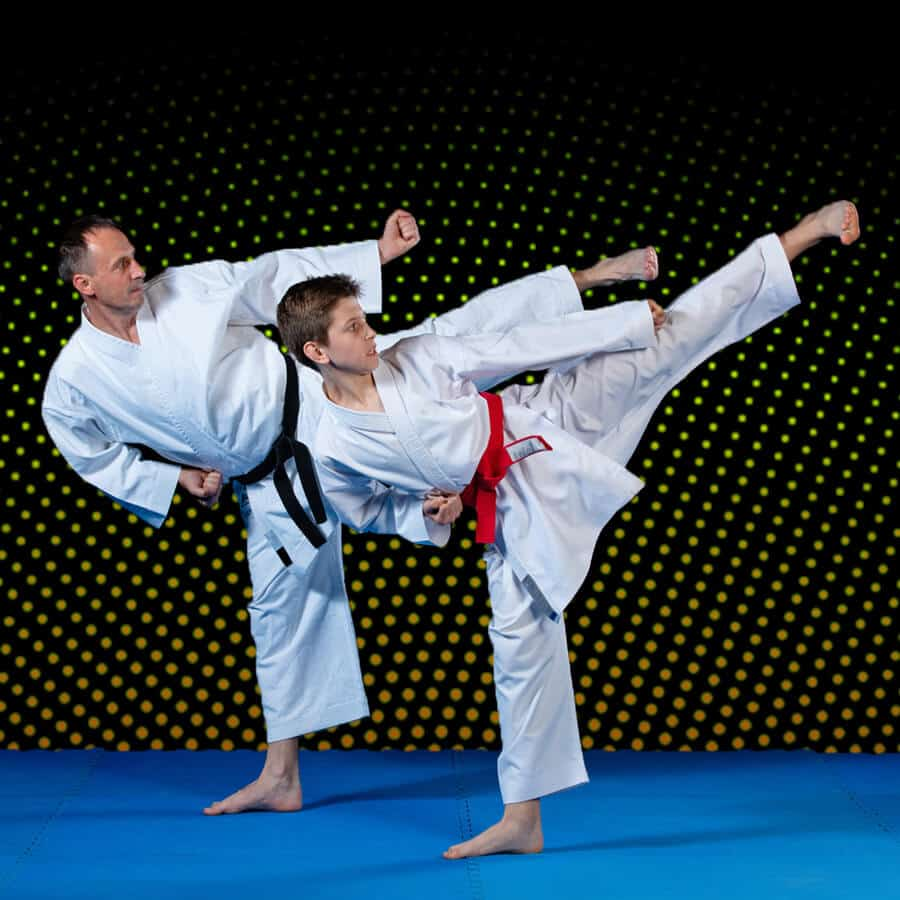 Martial Arts Lessons for Families in Naperville IL - Dad and Son High Kick