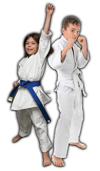 Martial Arts Lessons for Kids in Naperville IL - Happy Blue Belt Girl and Focused Boy Banner